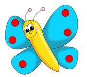 Colored butterfly. Colored illustration of a happy butterfly Stock Image