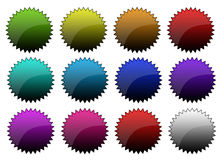 Colored buttons. Colored shiny 3D buttons Stock Images