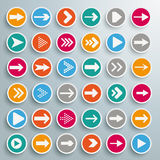 36 Colored Buttons Arrows Circles Royalty Free Stock Images