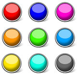 Colored buttons collection, glossy. Set of colored and glossy buttons. Very good for use as icons or buttons. High quality and big size available Royalty Free Stock Images