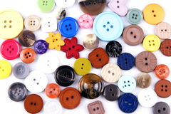 Colored buttons. Detail of colored buttons on white background Stock Photos