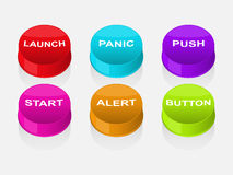 Colored buttons with different text Stock Images