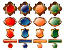 Colored buttons & gold emblem Royalty Free Stock Photo