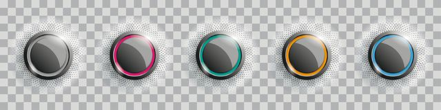 Colored Buttons With Halftone Transparent. Colored buttons with halftone on the checked background Royalty Free Stock Image