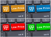 Colored buttons with low price message Stock Photography