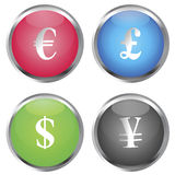Colored buttons with money symbols Stock Photos