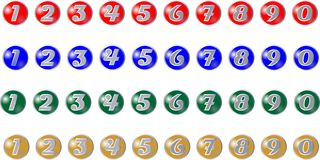 Colored buttons with numbers Royalty Free Stock Images