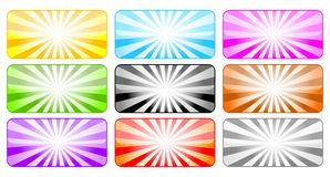 Colored buttons with rays Royalty Free Stock Image