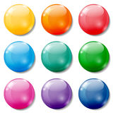 Colored buttons. Set of glossy colored buttons on white background Royalty Free Stock Photo