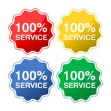 Colored buttons with text 100% service. Vector icon stock illustration
