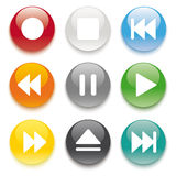 9 Colored Buttons Stock Photo