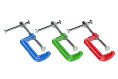 Colored C- clamps Stock Image