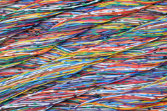 Colored cables in the global networks Royalty Free Stock Images