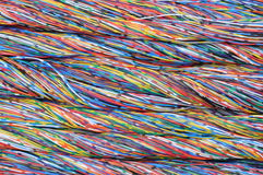 Colored cables in the global networks Stock Photo