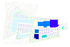 Colored CAD drawing. This image represents a colored CAD drawing of an field with buildings and roads Royalty Free Stock Photos