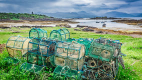 Colored cage for lobster on shore, Scotland, United Kingdom Stock Photography