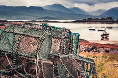 Colored cage for lobster on shore in summer, Scotland Stock Photo