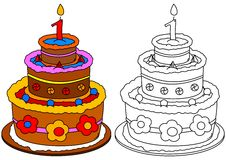 Colored cake with a candle as a coloring for little kids Stock Photography