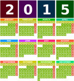 Colored 2015 Calendar in Flat Design with Simple Square Icons. Colored 2015 calendar with months from january to december in flat design using simple square Royalty Free Illustration