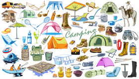 Colored Camping And Hiking Elements Collection. With horse tourism outdoor recreation accessories equipment and tools in doodle style isolated vector Stock Photography