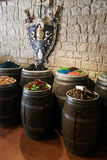 Colored candies in barrels Stock Photography