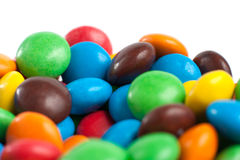 Colored candies. Multicolored candies isolated on white Stock Photo
