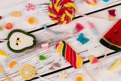 Colored candies, sweets and lollipops. stock images