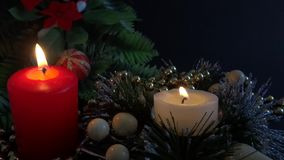 Colored candle  decoration stock video footage