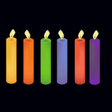 Colored candles. Set of colored candles on black background Royalty Free Stock Image