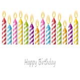 Happy birthday candles. Colored candles with different candlelights and text happy birthday Royalty Free Stock Photography