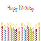 Happy birthday candles. Colored candles with different candlelights and text happy birthday Stock Images