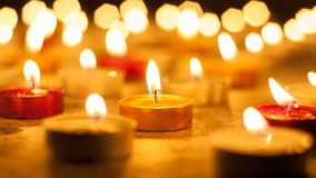 Colored candles lighted Stock Image