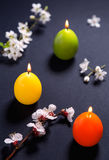Colored candles in the shape of Easter egg with flowers pattern Stock Photo