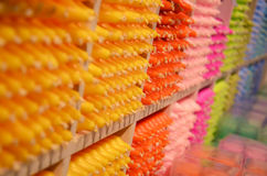 Colored candles in the shop in London Royalty Free Stock Images