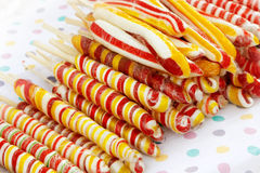 Colored candy. Multi-color twisted candy in red, white, yellow  and green Stock Photo