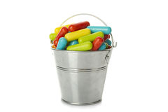 Colored candy in the bucket Stock Images