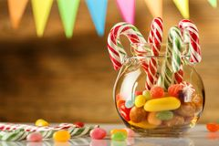 Free Colored Candy In A Jar. Sweets For Christmas. Greeting Card. Can Royalty Free Stock Photos - 105318248