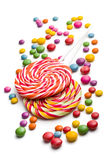 Colored candy and lollipop Royalty Free Stock Photography