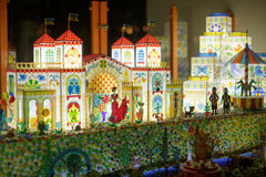 Colored candy village house, carousel. Toy candy stock photography