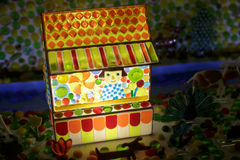 Colored candy village house, carousel. Toy candy stock photos