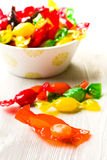 Colored candy wrapped in foil Stock Image