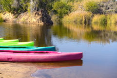 Colored canoes Stock Photo