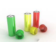 Colored cans  �3 Royalty Free Stock Photo