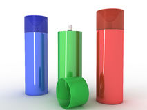 Colored cans  �8 Stock Photo