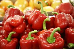 Colored capsicum in a grocery. Colored capsicum in a big grocery royalty free stock photos