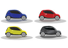 Colored car. Four colored free-standing machines Royalty Free Stock Images