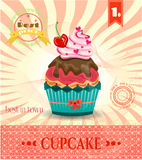 Colored card with cupcake with red cherry, bow Royalty Free Stock Photos