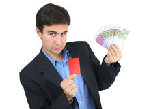 Colored card and man Royalty Free Stock Photos