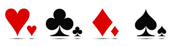 Colored card suit icon vector, playing cards symbols stock illustration
