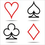 Colored card suit icon vector, playing cards symbols, one line royalty free illustration